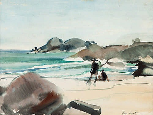 PERCY IVOR HUNT - FIGURES ON THE BEACH - Watercolour
