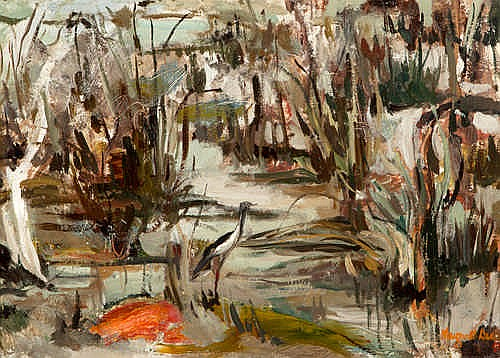 MARGARET DUNN CROWLEY - WET LANDS - Oil on board