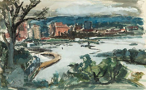 MARGARET DUNN CROWLEY - PERTH FROM KINGS PARK - Watercolour