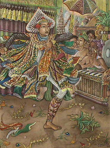 ANAK AGUNG GDE RAKA PUDJA (INDONESIA) - BARIS DANCE - Acrylic on canvas board