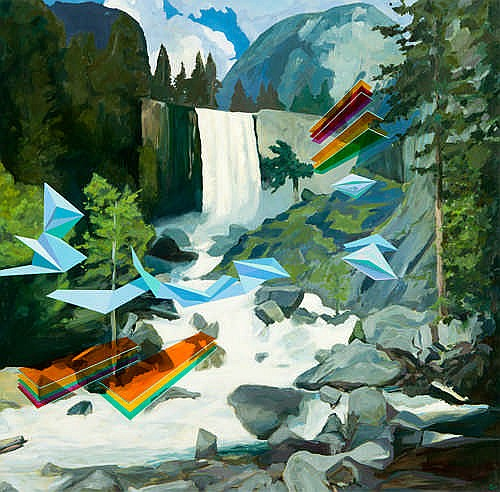 DAVID LEDGER - WATERFALL - Oil on canvas