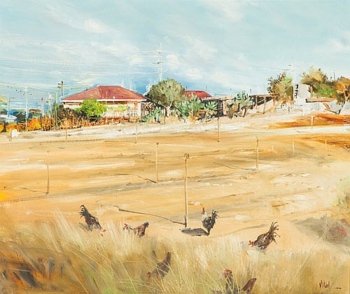 LARRY MITCHELL (B. 1953), SPEARWOOD CHOOKS, Signed