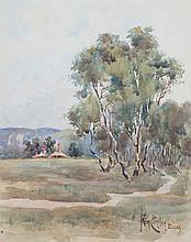 REGINALD (REG) COMLEY - HILLS FARM - Watercolour