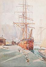REGINALD (REG) COMLEY - SHIPPING PORT ADELAIDE - Watercolour
