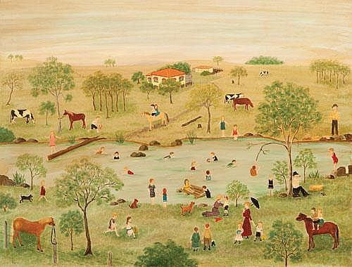 ROMA M. HIGGINS (1908-1979) THE PICNIC Oil on