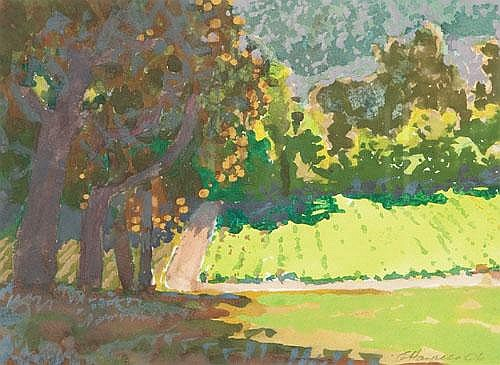 GEORGE HAYNES (B. 1938) SUNLIT VINEYARD