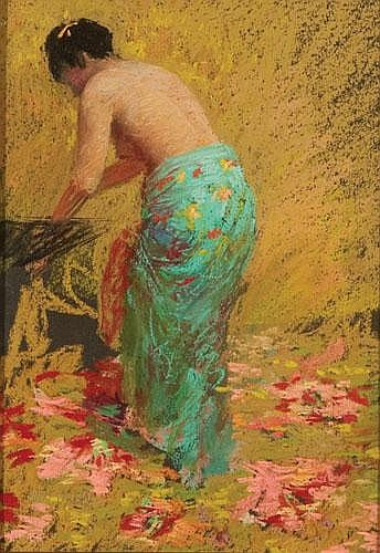 JUDY DREW (B. 1951) THE GREEN SARONG Pastel Signed