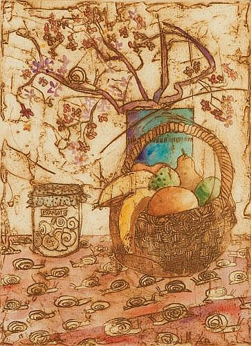 LEON PERICLES (B. 1949) FRUIT AND ESCARGOT Etching