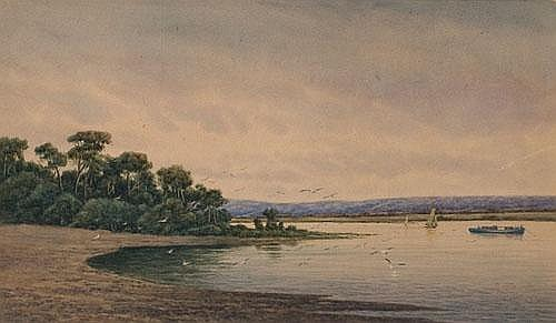 JAMES ASHTON (1859-1935) RIVER SCENE Watercolour