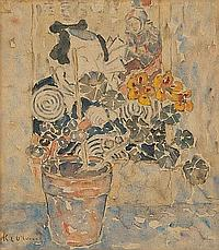 KATHLEEN LETITIA (KATE) O'CONNOR (1876-1968) STILL LIFE AND JAPANESE SCREEN