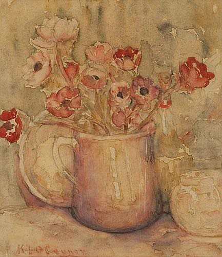 KATHLEEN LETITIA  (KATE)  O'CONNOR (1876-1968) STILL LIFE POPPIES