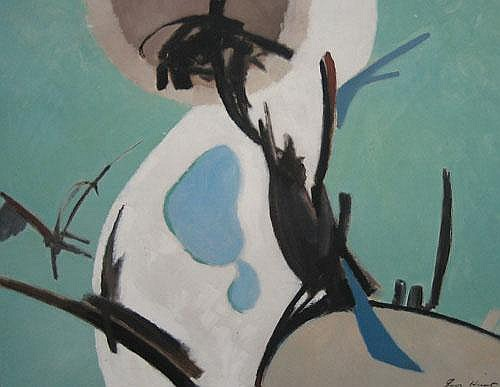 PERCY IVOR HUNT (1903-1971) MAGPIES Signed lower