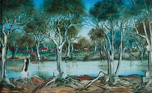 KEVIN CHARLES (PRO) HART - GARDEN ON THE RIVER - Oil on board