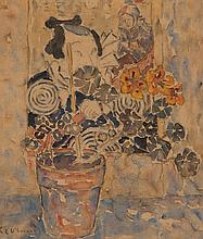 KATHLEEN LETITIA (KATE) O'CONNOR - STILL LIFE AND JAPANESE SCREEN - Watercolour