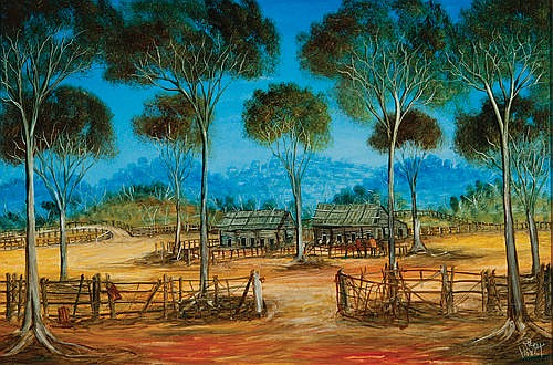 KEVIN CHARLES (PRO) HART - THE SHEARING SHEDS - Oil on board