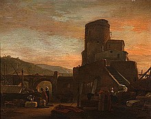 THOMAS WYCK (1616-1667) NORTH AFRICAN HARBOUR