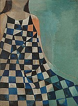 DOROTHY BRAUND (1926-2013) BLUE CHECKS Signed &