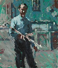 HAYWARD VEAL (1913-1968) SELF PORTRAIT IN THE