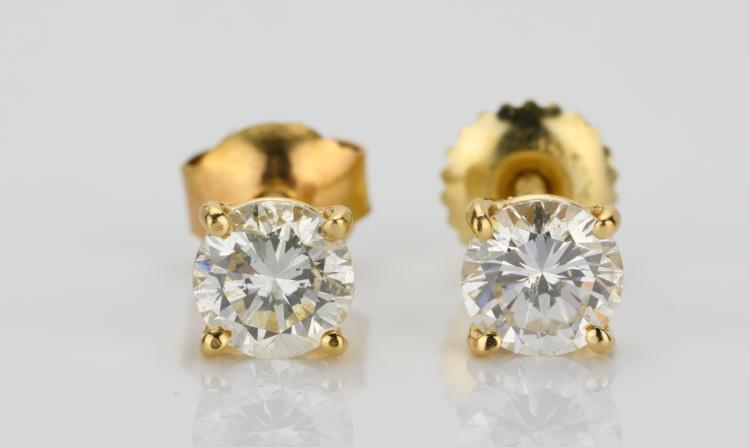 1.00ctw SI1-SI2/G-H Brilliant Round-Cut Diamond & Solid 14K Yellow Gold Stud Earrings