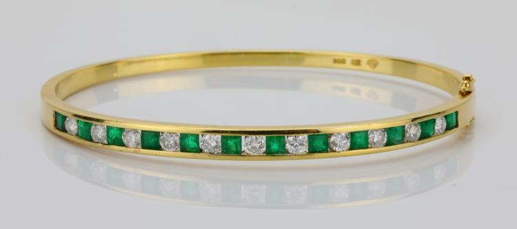 1.35ctw Emerald, 1.10ctw VS2-SI1/G-H Diamond & Solid 18K Yellow Gold 4.5mm Wide Bangle Bracelet
