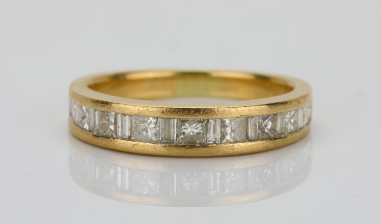 1.45ctw SI1-SI2/G-H Princess & Baguette-Cut Diamond Solid 14K Yellow Gold 4mm Wide Band