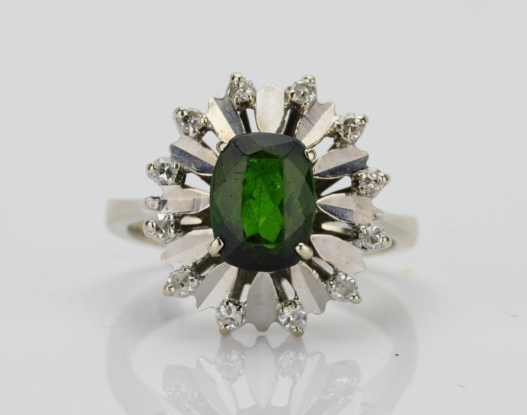 1.25ct Green Tourmaline & Solid 18K White Gold Ring W/Diamond Accents