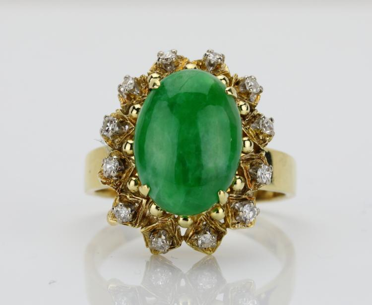 13.5mm Green Chalcedony & Solid 14K Yellow Gold Ring W/0.35ctw SI1-SI2/G-H Diamond Accents