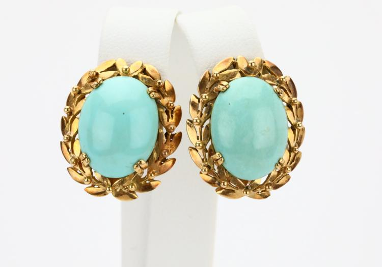 16.5mm Turquoise Cabochon & Solid 14K Yellow Gold 1