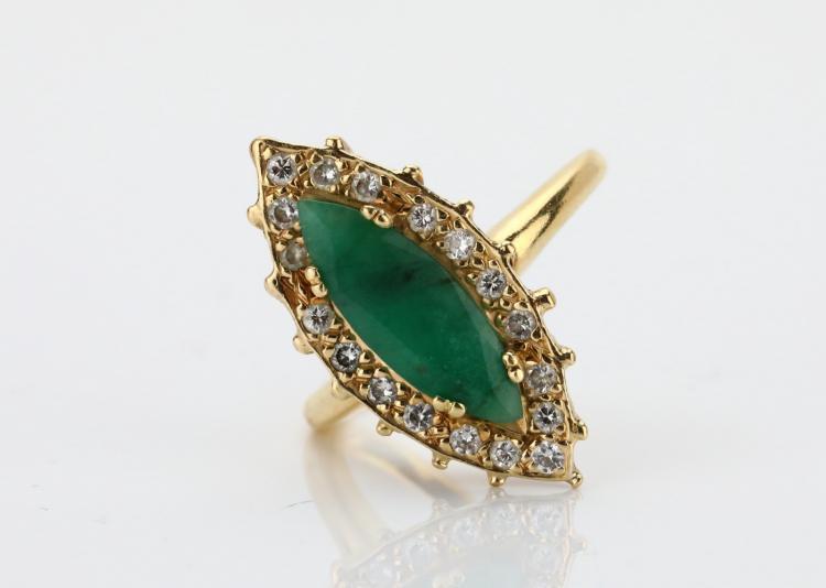 15mm Marquise-Cut Green Corundum, 0.35ctw SI1-SI2/G-H Diamond & Solid 14K Yellow Gold Ring
