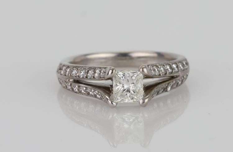 1.15ctw SI1-SI2/G-H Diamond & Solid 14K White Gold Ring (W/0.50ct Princess-Cut Center Diamond)
