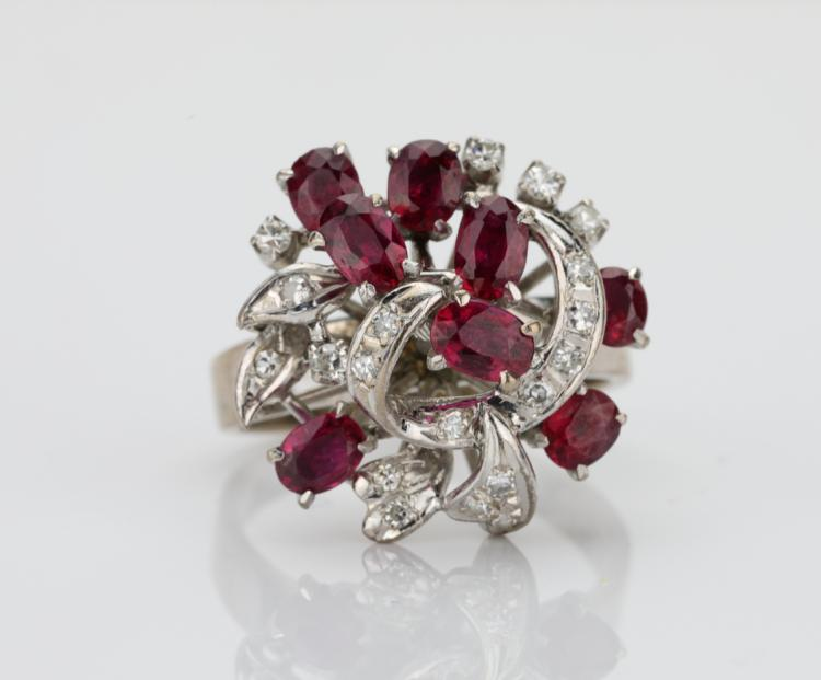 1.50ctw Oval-Cut Ruby & Solid 18K White Gold Cocktail Ring W/0.50ctw Diamond Accents
