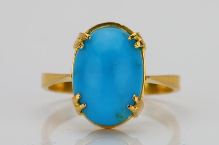 13.5mm Turquoise Cabochon & Solid 18K Yellow Gold Ring