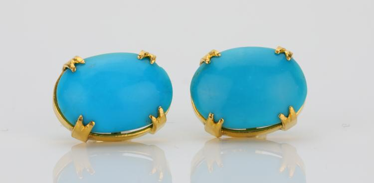 15.5mm Turquoise Cabochon & Solid 18K Yellow Gold Stud Earrings