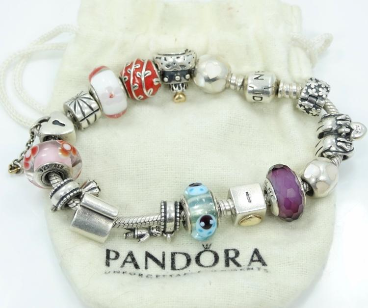 Pandora Jewelry Llc: Pandora Solid Sterling Silver Slide Charm Bracelet W/16 Char