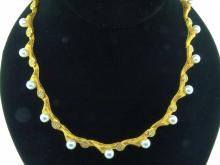 Mapamenos Natepas Solid 18K Yellow Barked Gold Necklace W/6mm AAA South Sea Pearls & 1.33ctw Genuine VS1-VS2/F-G Diamonds