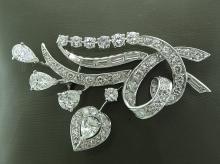 4ctw Genuine VS1-VS2/F-G Diamond & Solid 14K White Gold Brooch (W/(3) 1/2ct Each Diamonds)