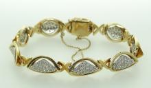1ctw Genuine SI1/G-H Pave-Set Diamond & Solid 14K Yellow Gold Concave/Convex Retro Style Cocktail Bracelet W/11mm Links