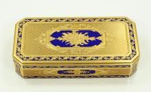 Perugia Italy SOLID 18K Yellow Gold & Cobalt Blue Enamel Trinket Box W/Ornate Incised Details