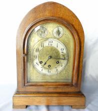 Antique Gustav Becker German Mahogony & Gilt Bronze Bracket Shelf Clock W/Ornate Foliate Designs