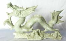 Hand Carved Light Green Marble Four Claw Dragon 9
