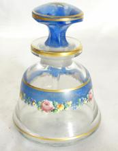 Vintage Glass Perfume Bottle W/Blue Glaze, Raised Enamel, & Gilt Gold Accents