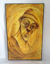 Large Vintage Signed Original Oil on Canvas Monochromatic Clown Painting Dated