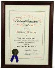 Framed 1968 BMI Award to Tuckahoe Music, Inc. For the Song