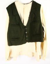 Kenny Rogers (as Quentin Leech) Screenworn Green Tweed Vest & Distressed White Cotton Shirt Worn in the TV Movie Rio Diablo W/COA