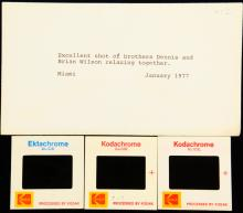 The Beach Boys Dennis & Brian Wilson (Brothers) NEVER BEFORE SEEN (3) Photo Slides from the 1977 (One in Concert) in Envelope W/Milton Love's Typed Notes on It