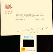 The Beach Boys Dennis Wilson W/Redd Foxx & Dave Ford NEVER BEFORE SEEN Photo Slide in Hotel Envelope W/Milton Love's Typed Notes on It
