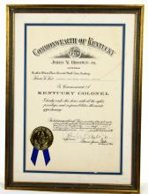 Jessi Colter Personally Owned Framed Presentation From The Commonwealth of Kentucky Making Colter A Kentucky Colonel Acquired from the Jennings Estate W/COA