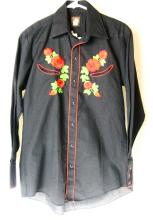 Marty Stuart Personally Owned & Worn Black Western Style Shirt with Ornate Floral Embroidery W/COA