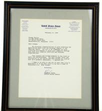 Conway Twitty Personally Owned Framed Letter From United States Senator David Boren Dated February 17, 1990 W/COA From the Conway Twitty Estate