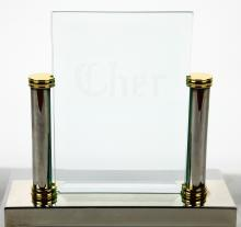 Cher Personally Owned Silver & Beveled Glass Desk Name Plate W/COA